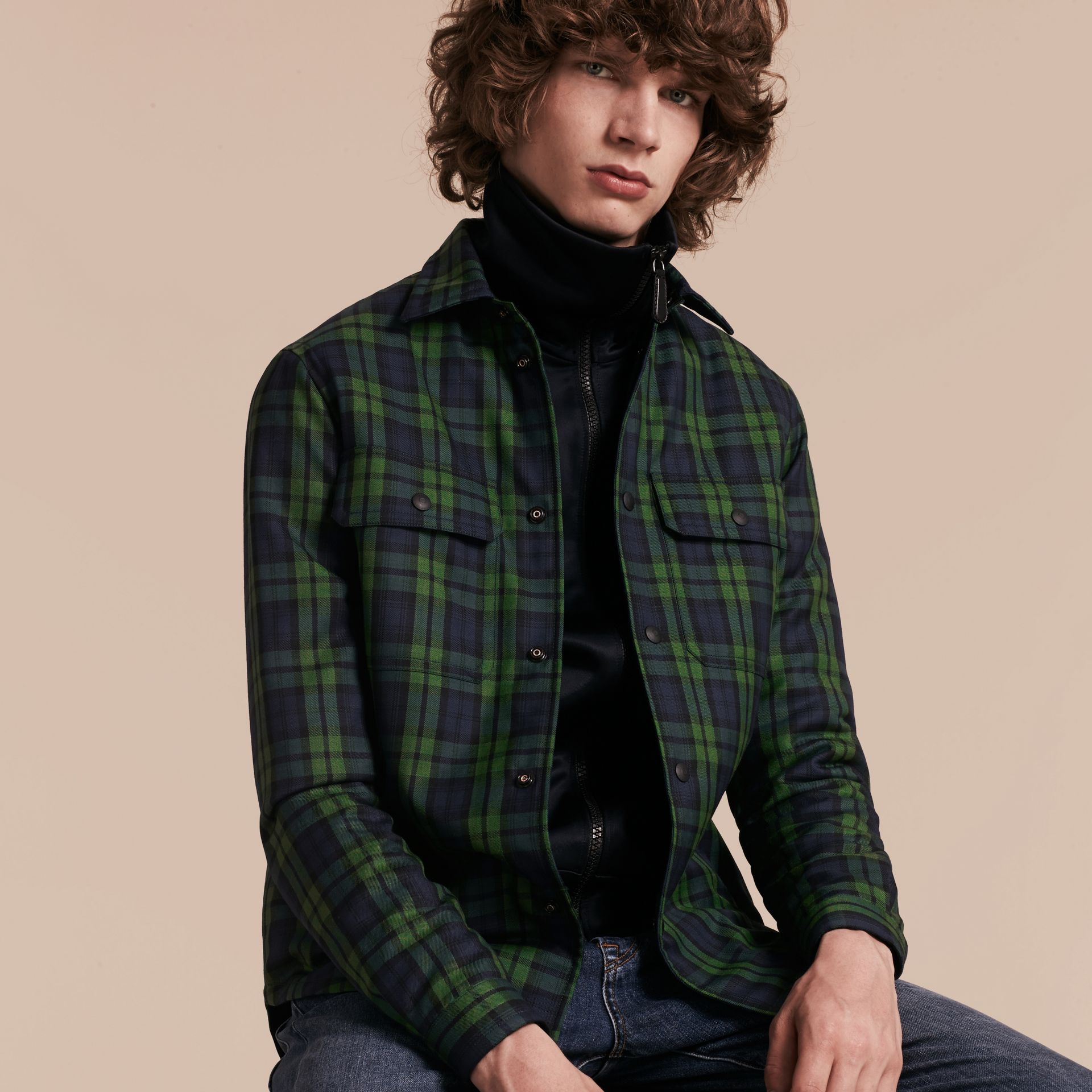 Dark forest green Tartan Wool Wadded Shirt - gallery image 6