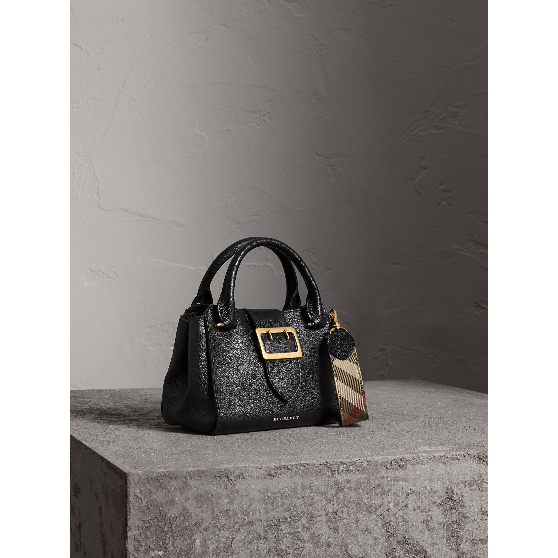 The Small Buckle Tote in Grainy Leather in Black - Women | Burberry - gallery image 7