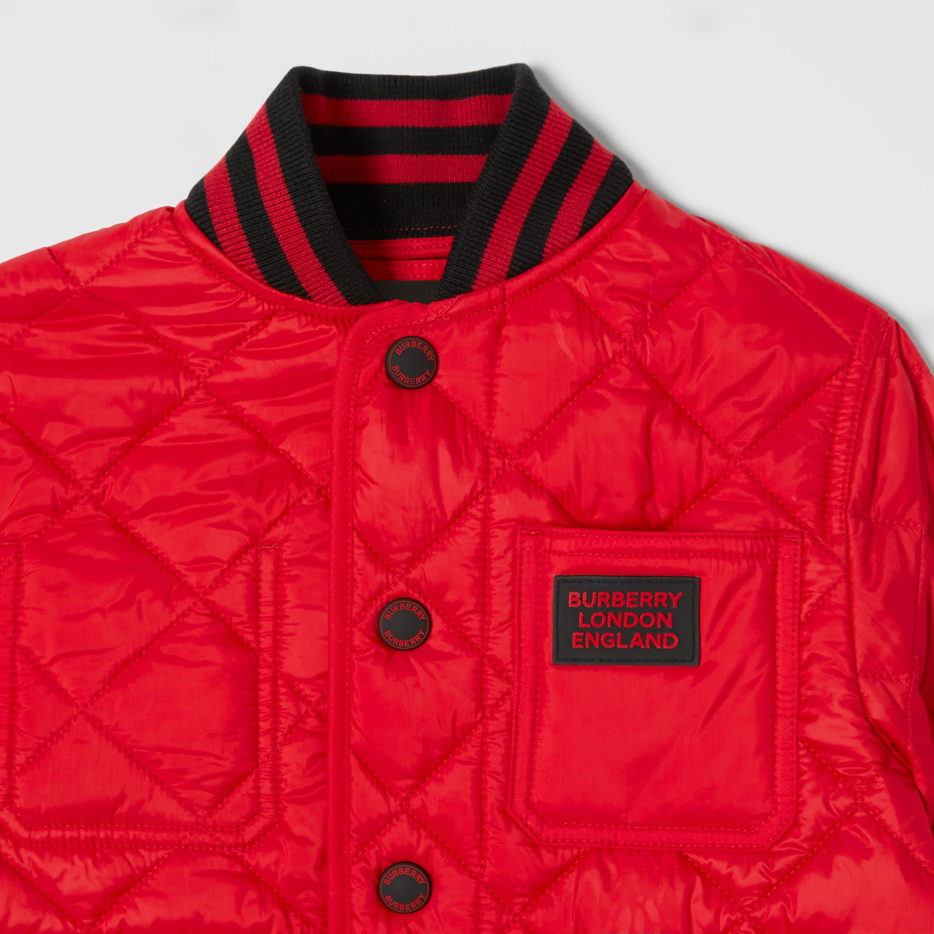Recycled Polyester Diamond Quilted Jacket in Bright Red | Burberry United Kingdom - gallery image 5