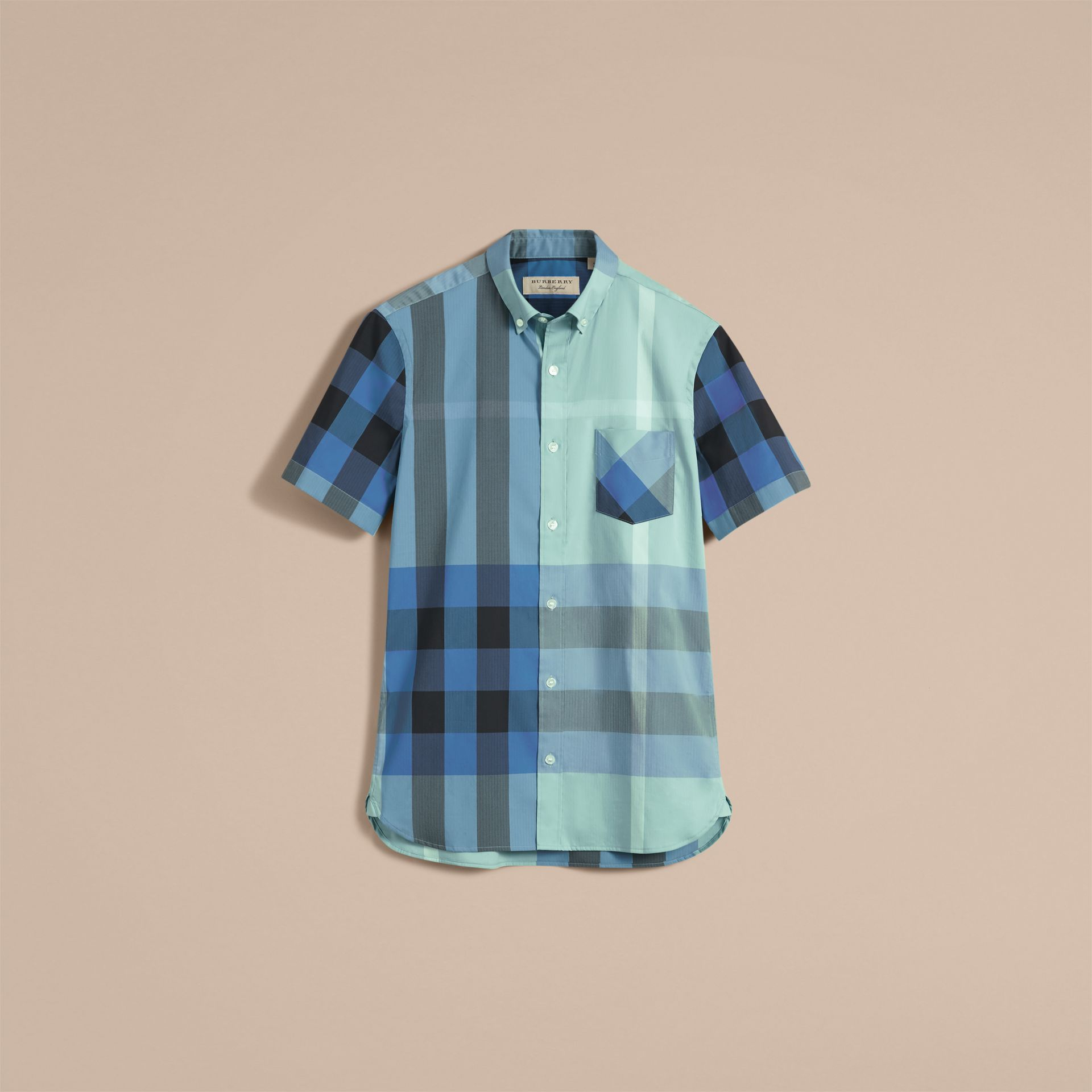 Short-sleeve Check Stretch Cotton Blend Shirt Pale Opal - gallery image 4