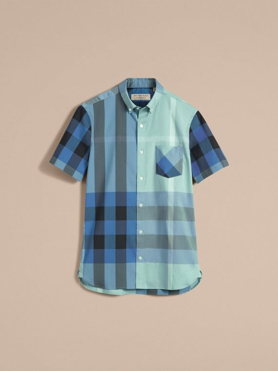 Short-sleeve Check Stretch Cotton Blend Shirt Pale Opal - cell image 3