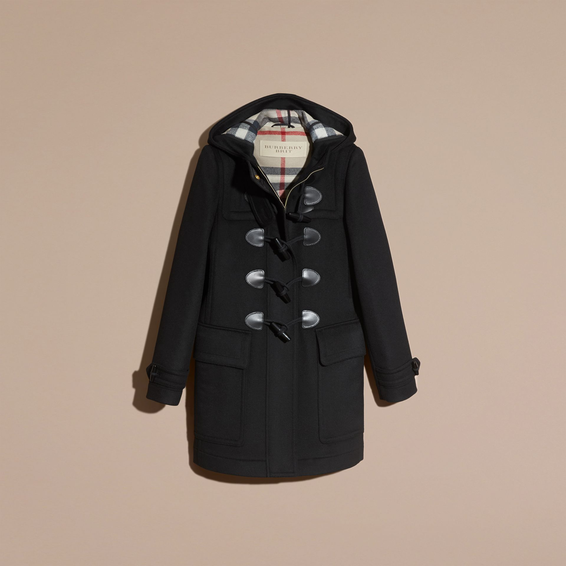 Black Straight Fit Duffle Coat Black - gallery image 4