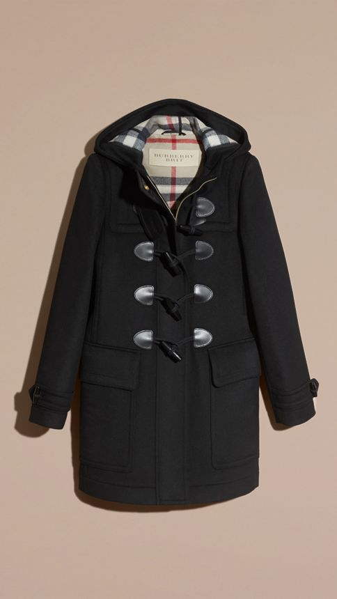 Black Straight Fit Duffle Coat Black - Image 4