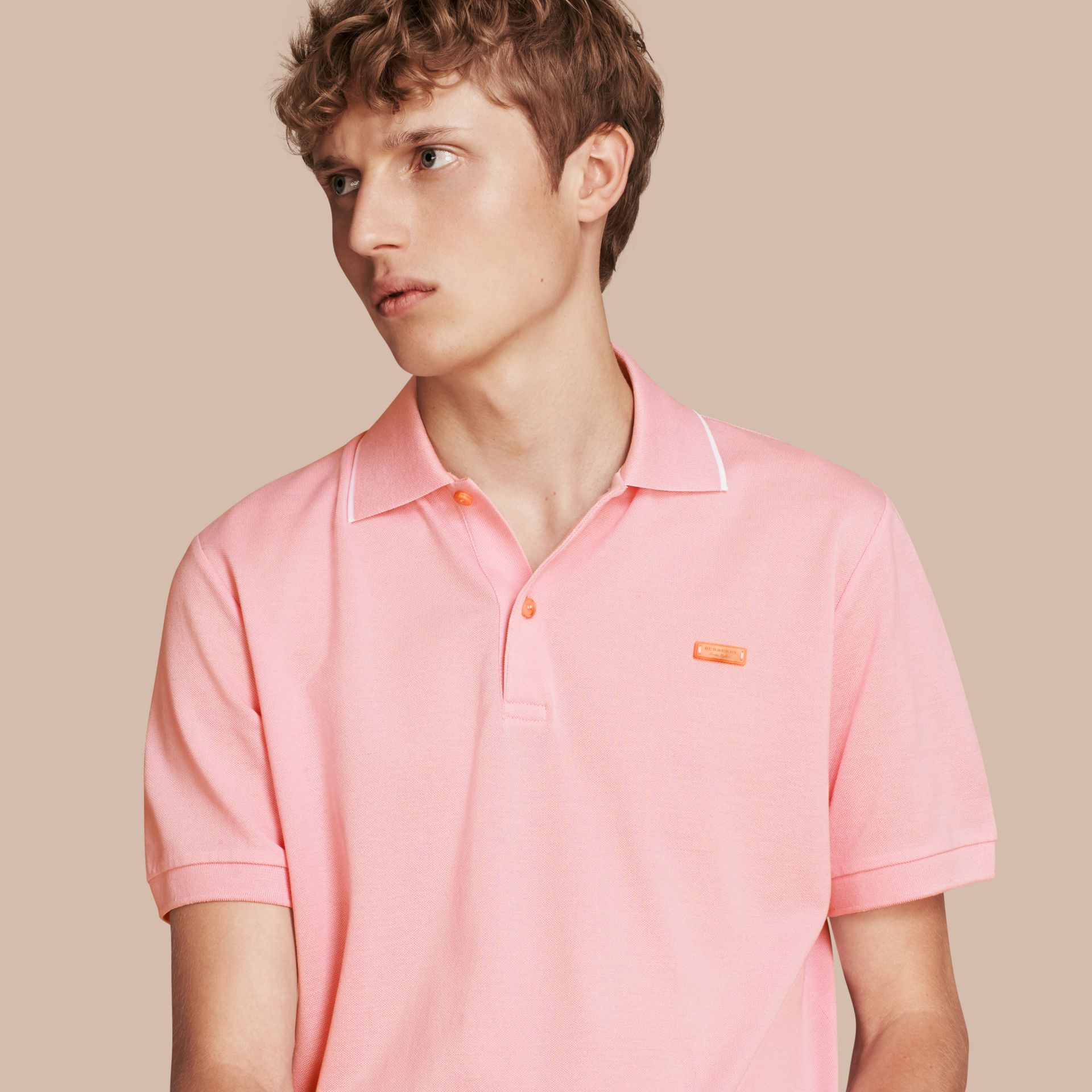 Tipped Collar Cotton Piqué Polo Shirt in Light Pink - gallery image 1
