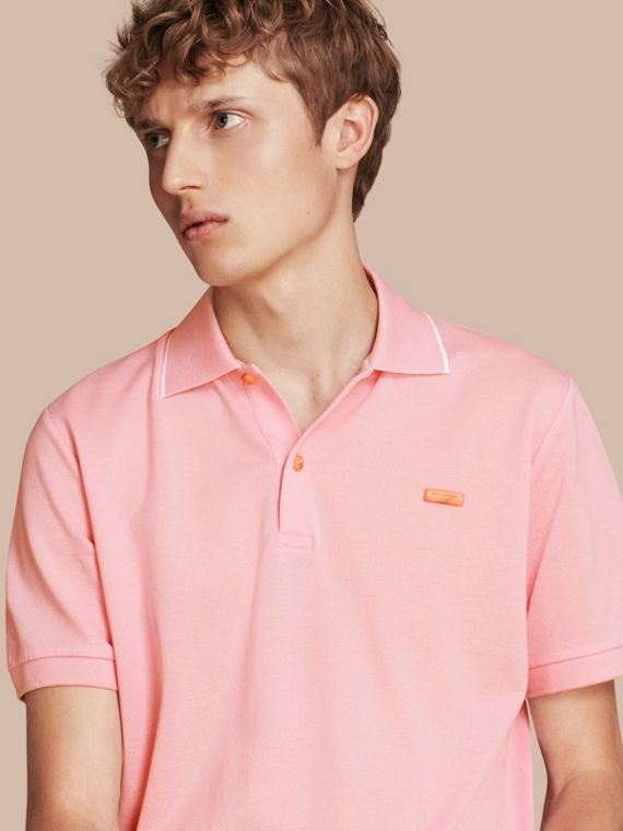 Tipped Collar Cotton Piqué Polo Shirt in Light Pink