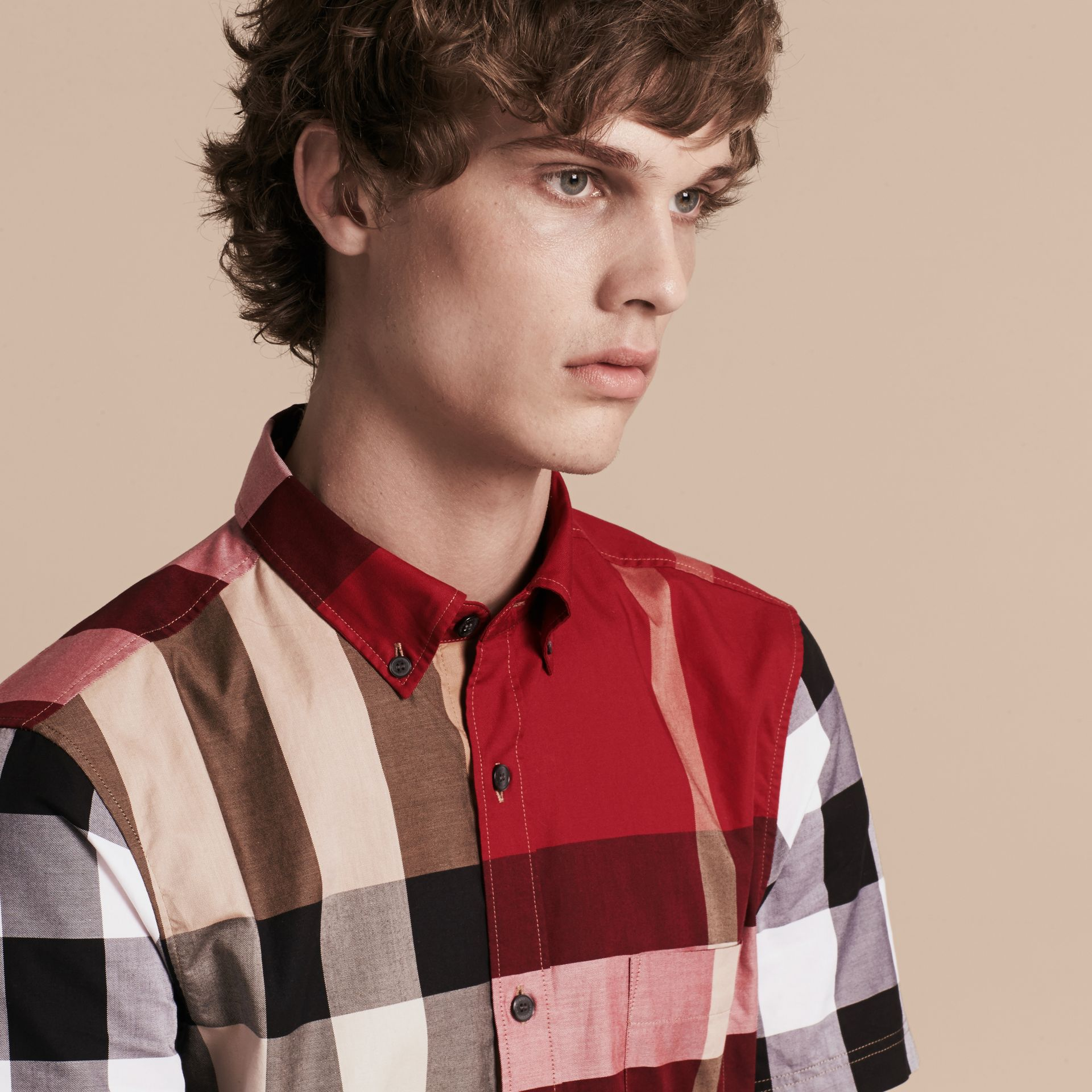 Camel Short-sleeved Colour Block Check Cotton Shirt Camel - gallery image 5