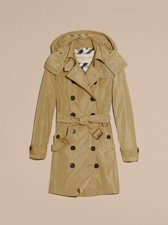 Taffeta Trench Coat with Detachable Hood in Sisal - cell image 3