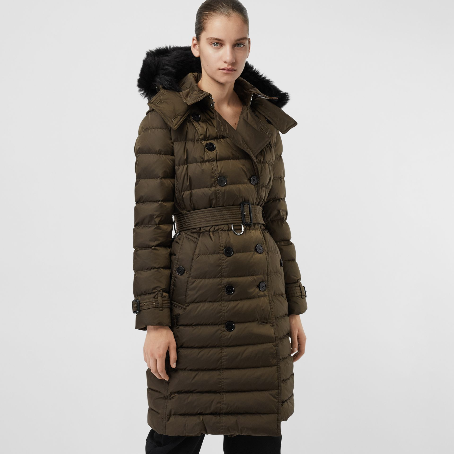 Detachable Hood Down-filled Puffer Coat in Dark Olive - Women | Burberry - gallery image 4