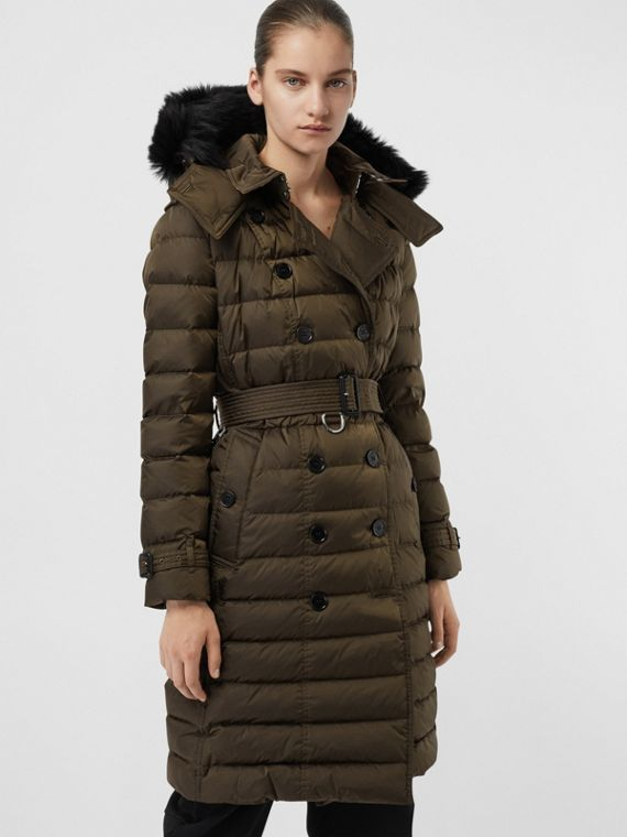 Detachable Hood Down-filled Puffer Coat in Dark Olive
