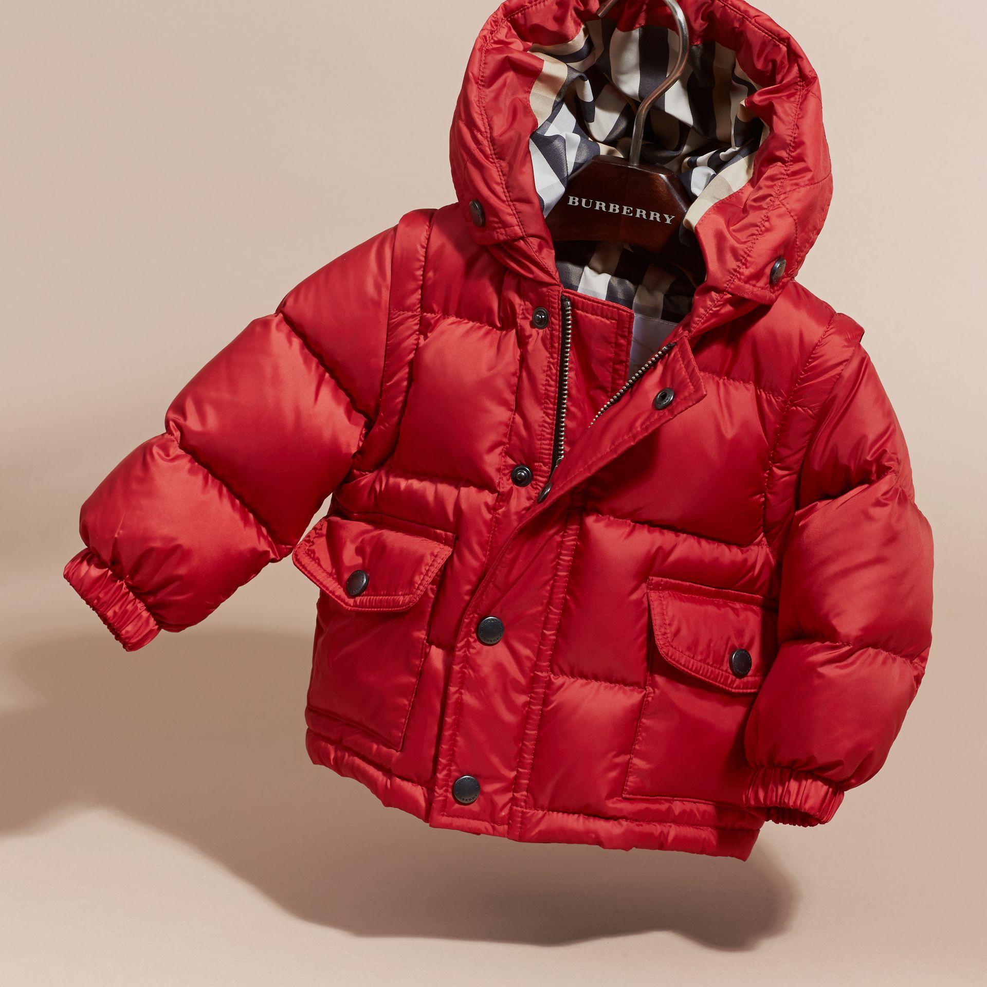 Military red Detachable Sleeve Puffer Jacket Military Red - gallery image 3