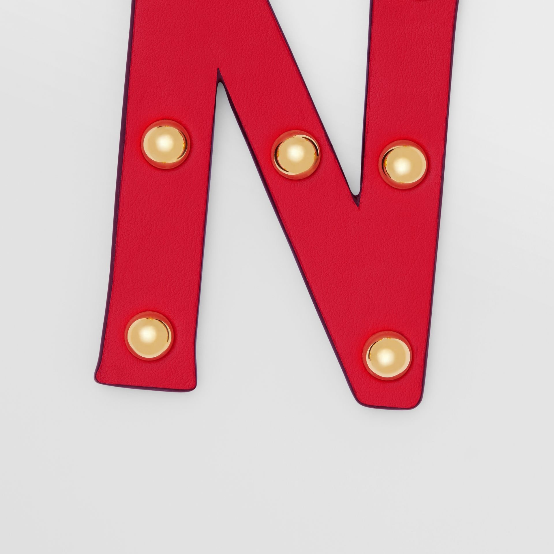 'N' Studded Leather Alphabet Charm in Red/light Gold - Women | Burberry - gallery image 1