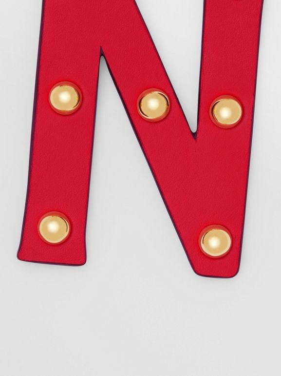 'N' Studded Leather Alphabet Charm in Red/light Gold | Burberry - cell image 1
