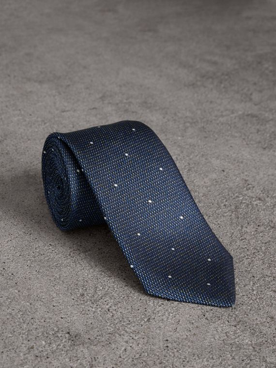 Modern Cut Pin Dot Silk Tie in Steel Blue