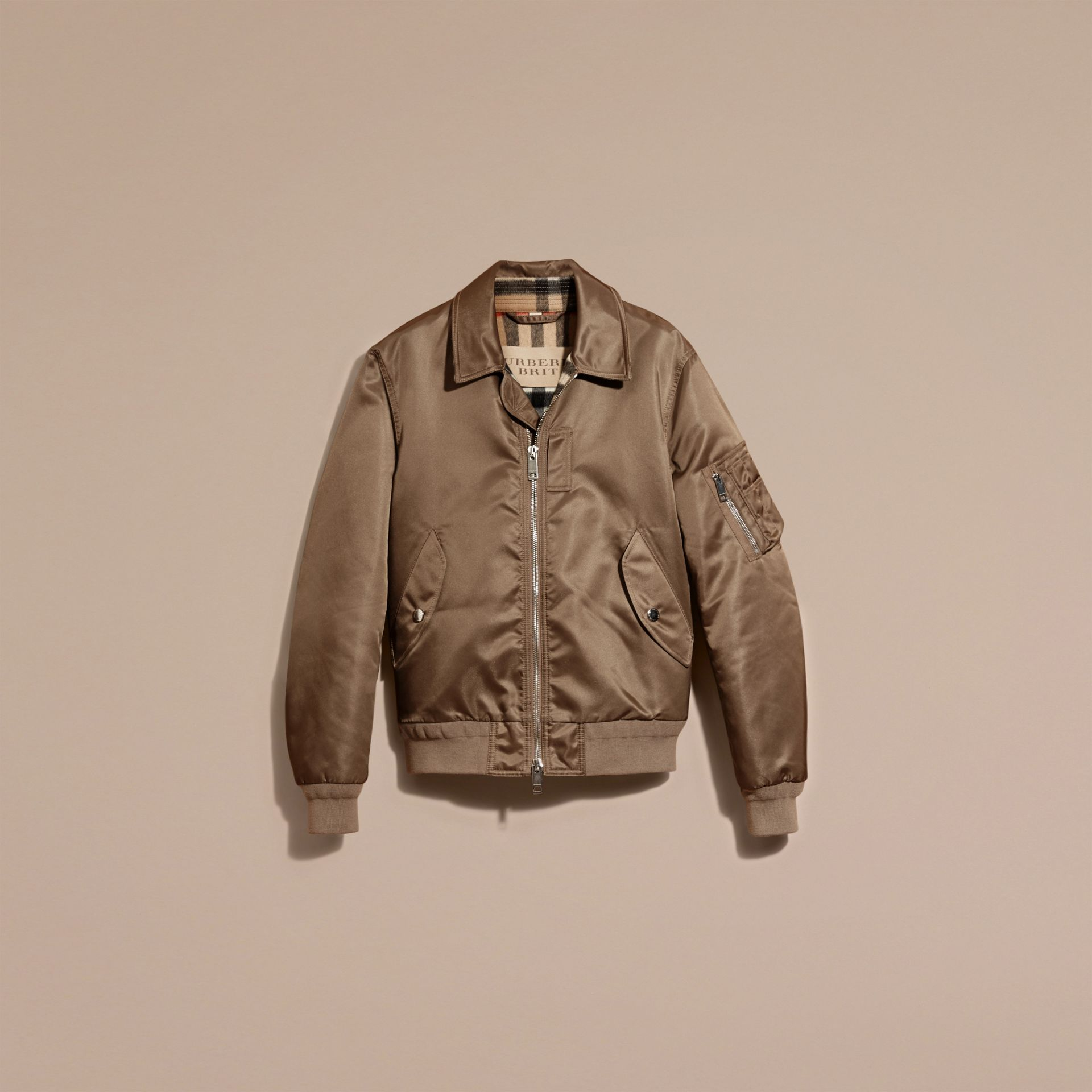 Satin Bomber Jacket with Check Undercollar in Dark Taupe - gallery image 4