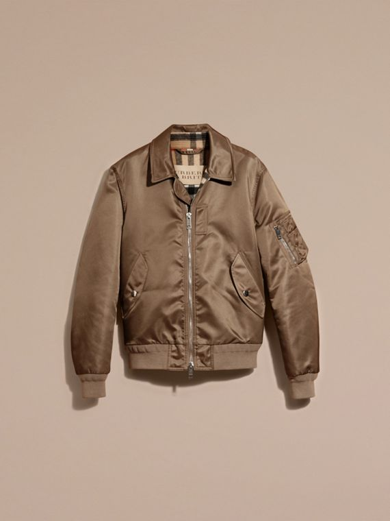 Satin Bomber Jacket with Check Undercollar in Dark Taupe - cell image 3
