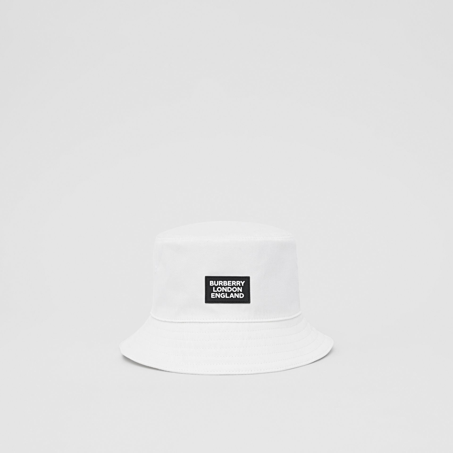 Logo Appliqué Cotton Bucket Hat in White | Burberry United States - gallery image 0