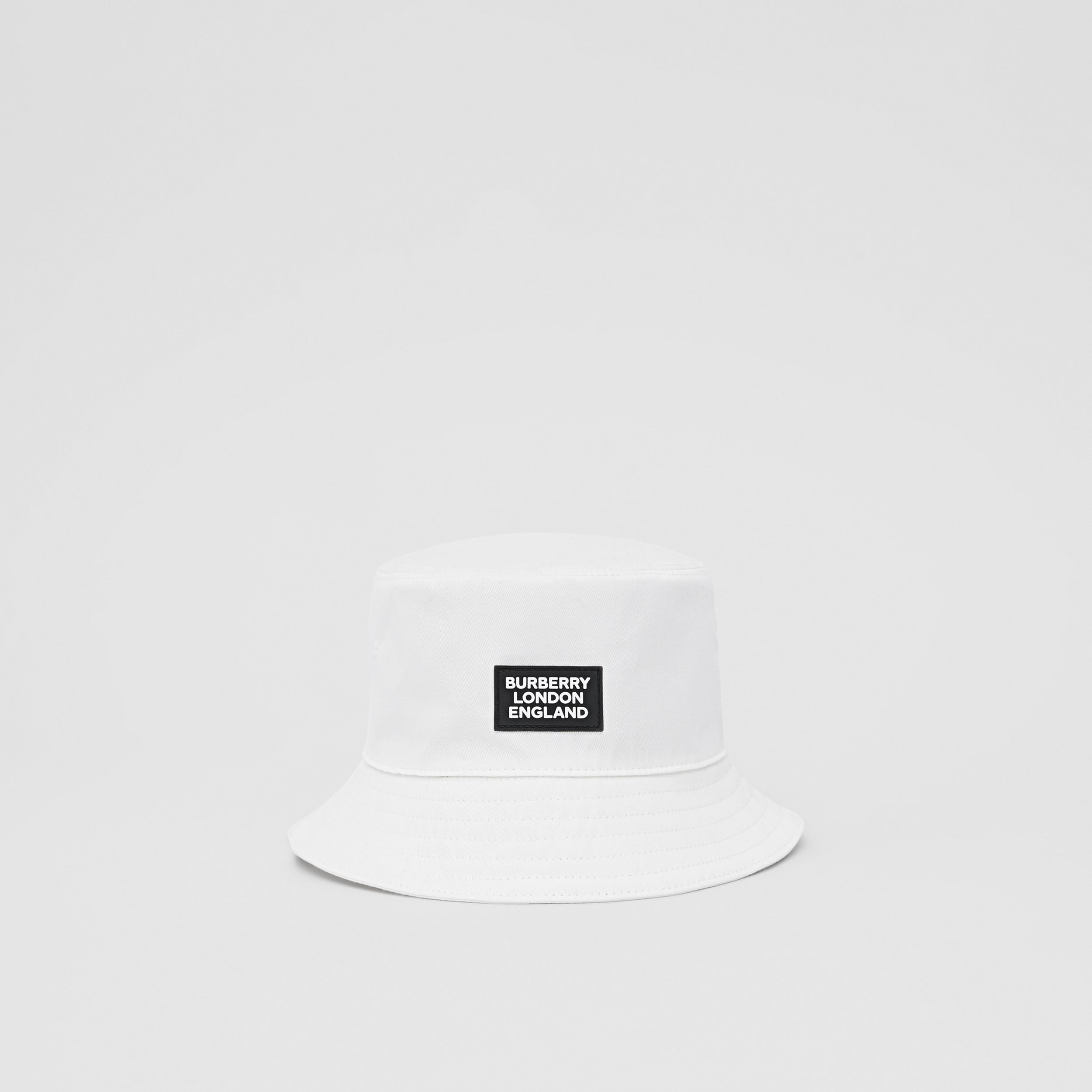 Logo Appliqué Cotton Bucket Hat in White | Burberry - 1