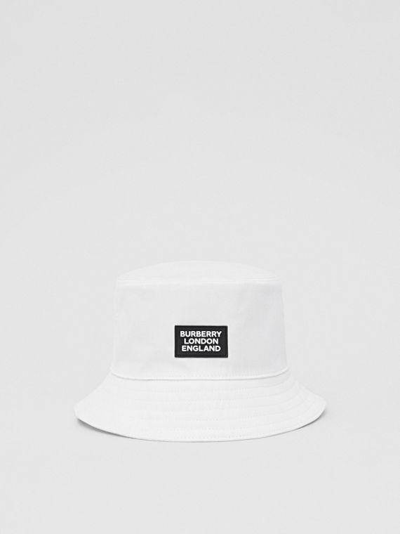 Logo Appliqué Cotton Bucket Hat in White