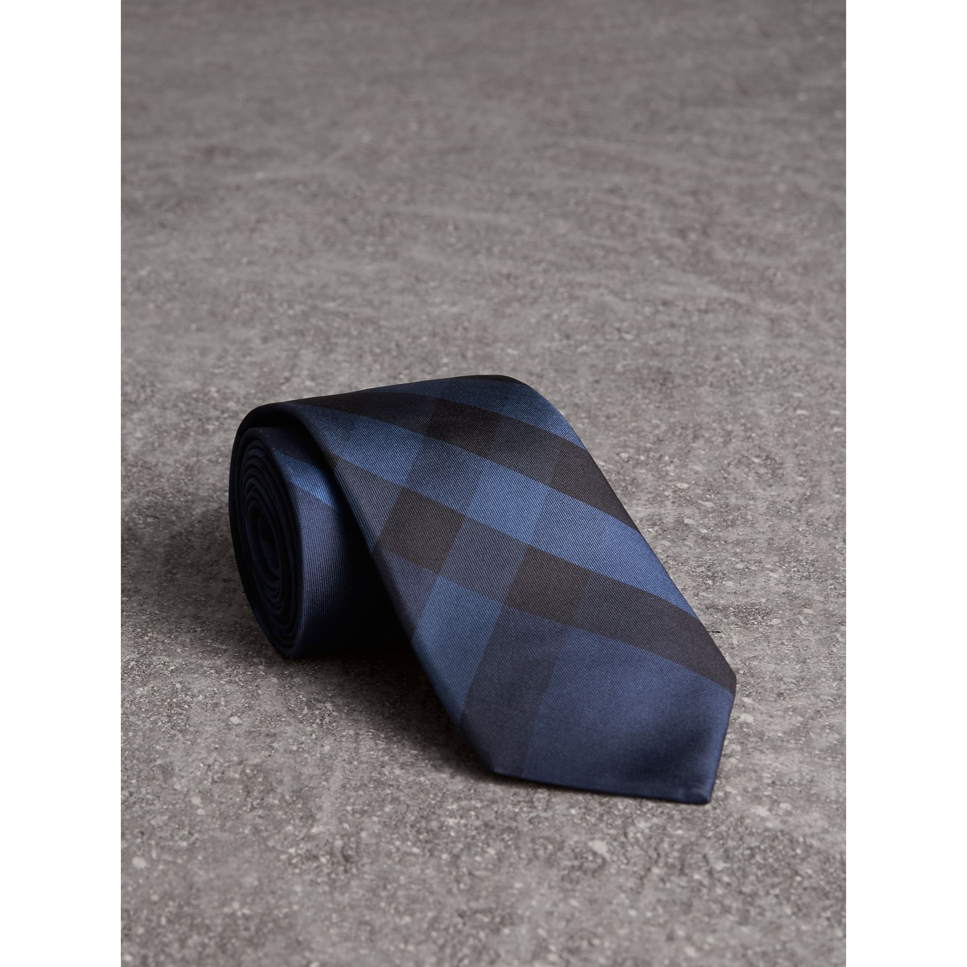 Modern Cut Check Silk Tie in Navy - Men | Burberry Singapore - gallery image 1