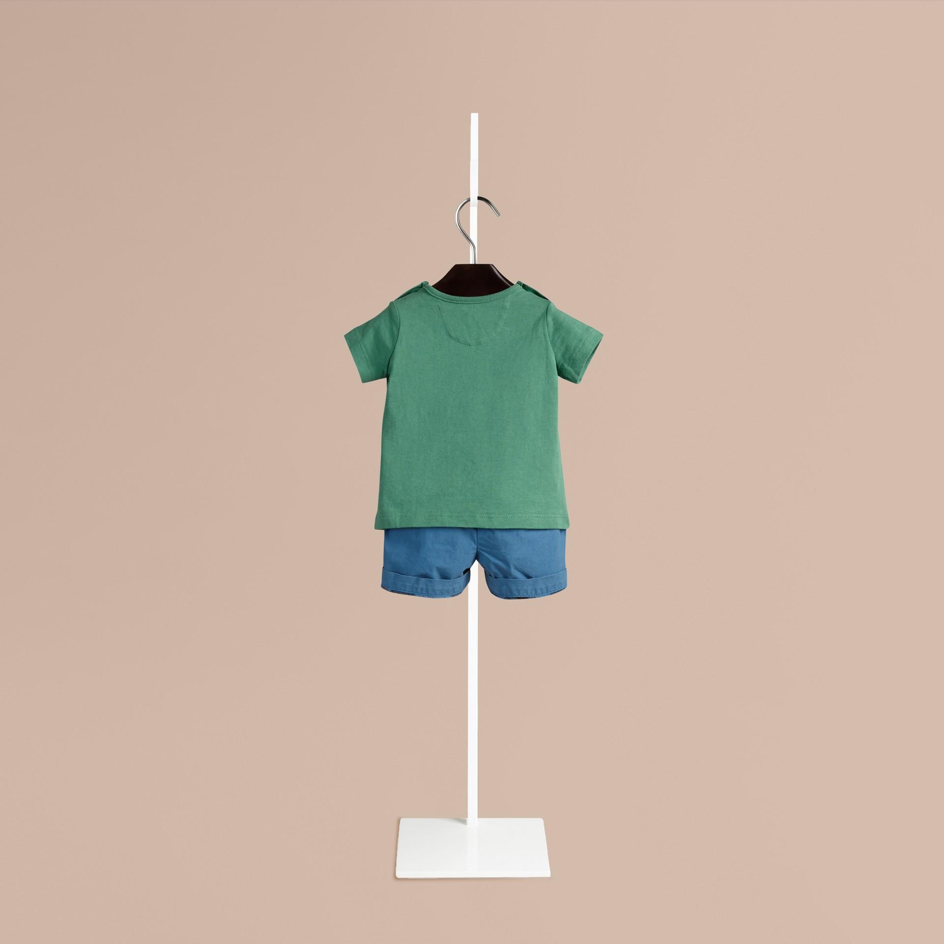 Verde tempesta T-shirt in cotone con immagine ghepardo Verde Tempesta - immagine della galleria 2