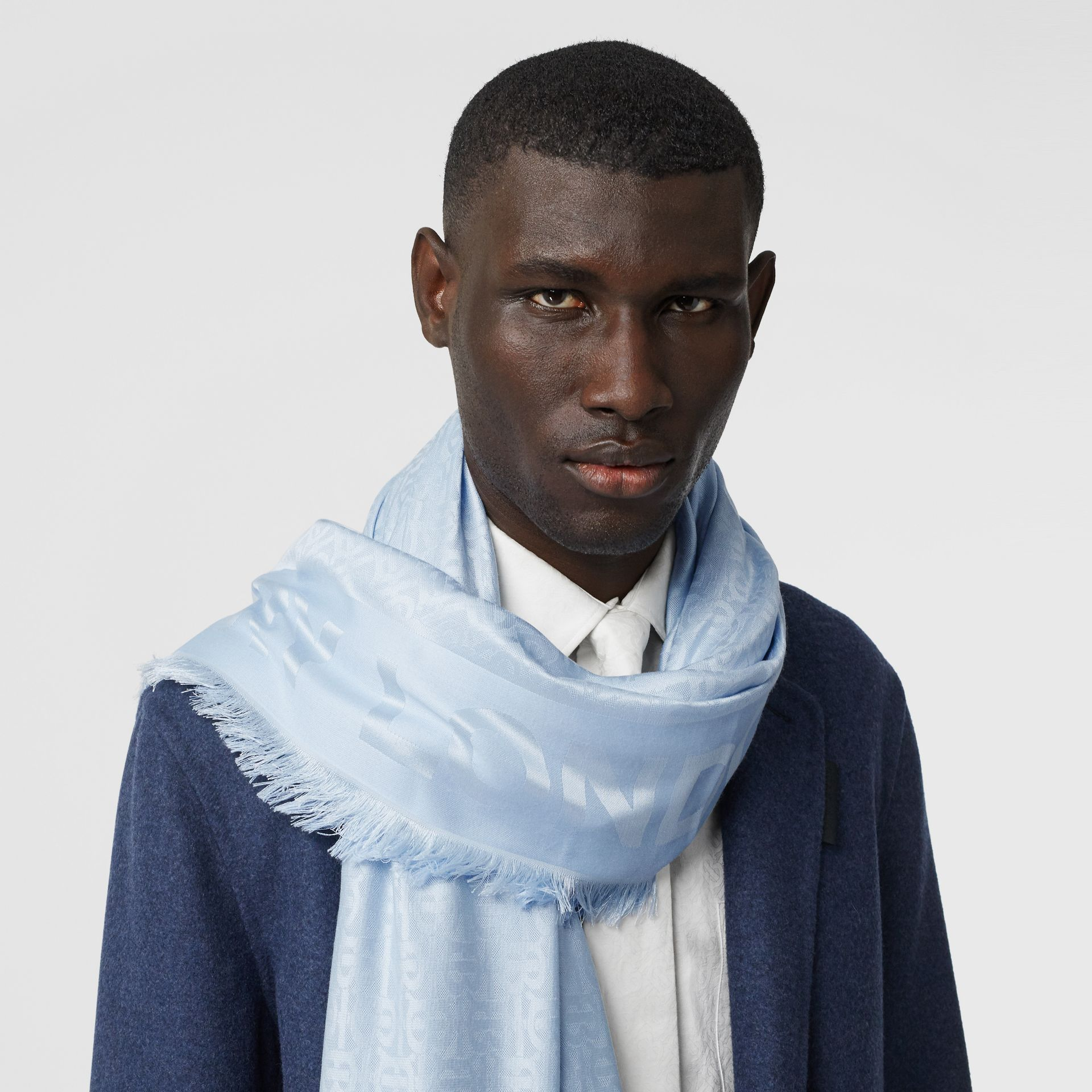 Monogram Silk Wool Jacquard Large Square Scarf in Pale Blue | Burberry - gallery image 3