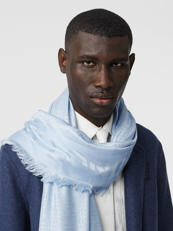 Monogram Silk Wool Jacquard Large Square Scarf in Pale Blue | Burberry - cell image 3