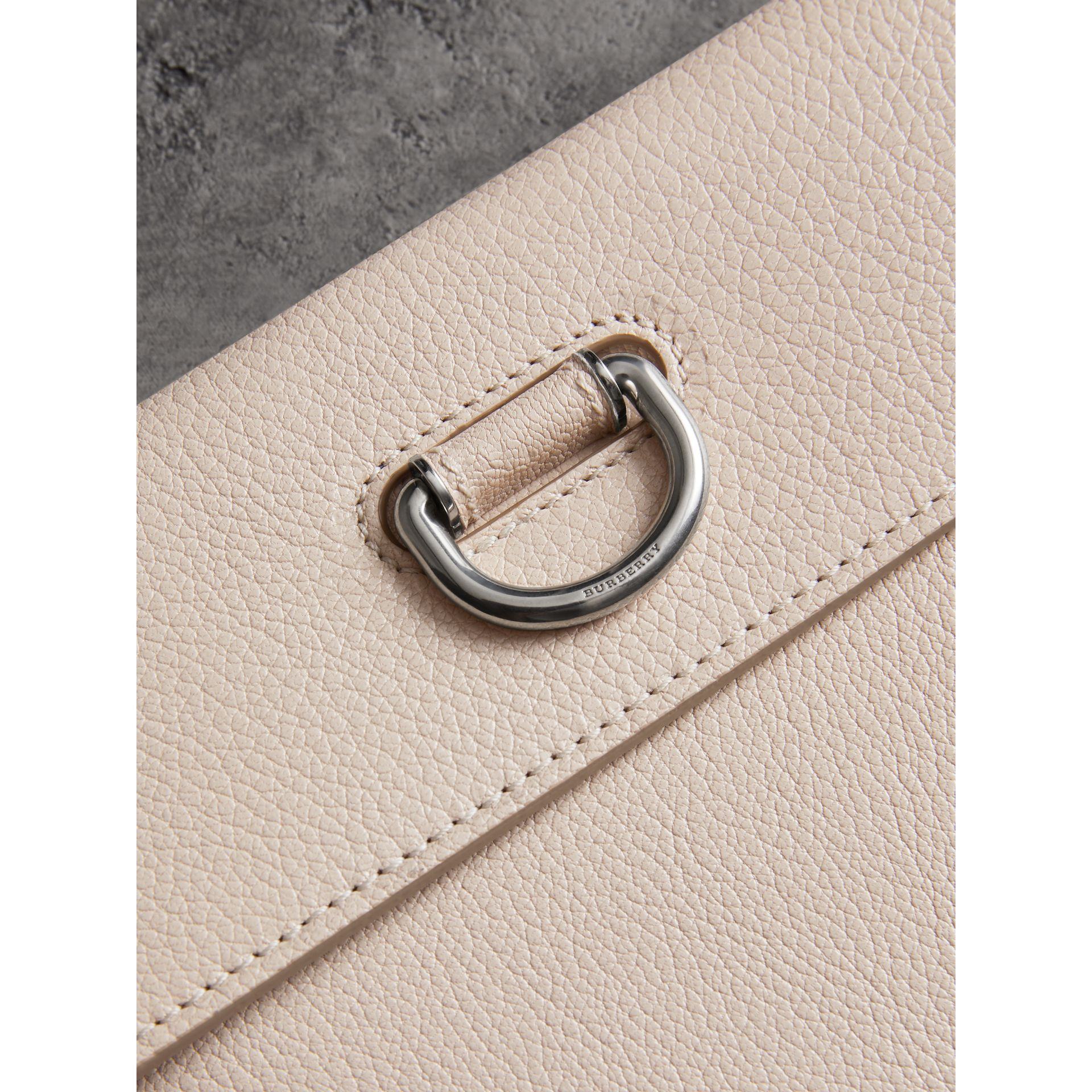 D-ring Leather Pouch with Zip Coin Case in Stone - Women | Burberry Singapore - gallery image 1