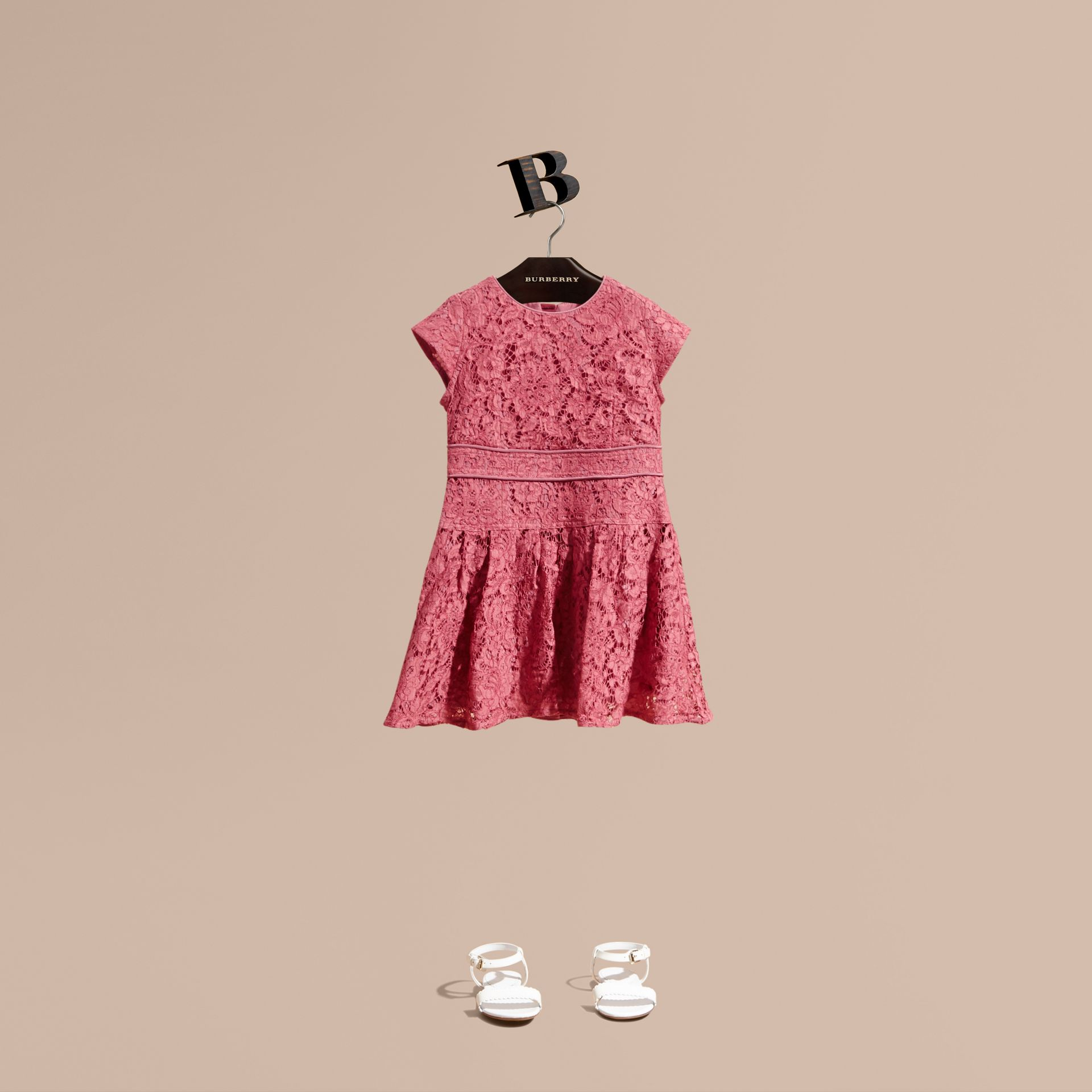 Cap Sleeve Macramé Lace Dress in Pink Azalea - Girl | Burberry - gallery image 1