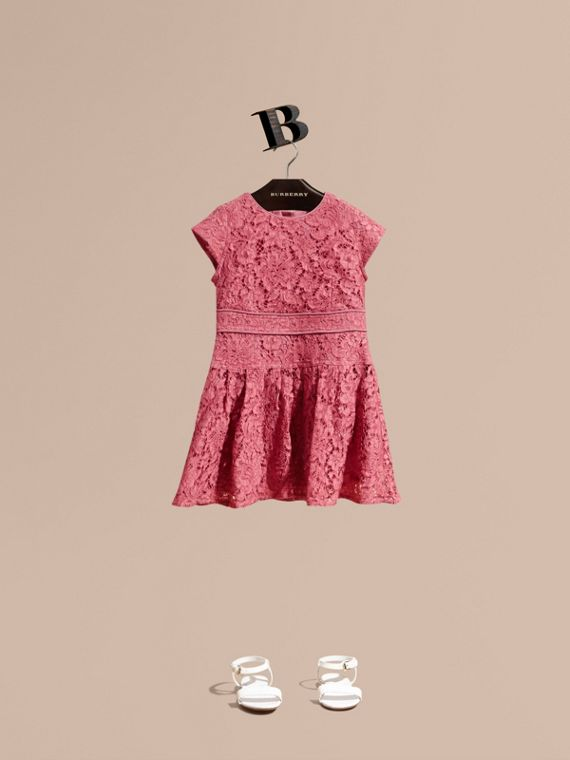 Cap Sleeve Macramé Lace Dress Pink Azalea