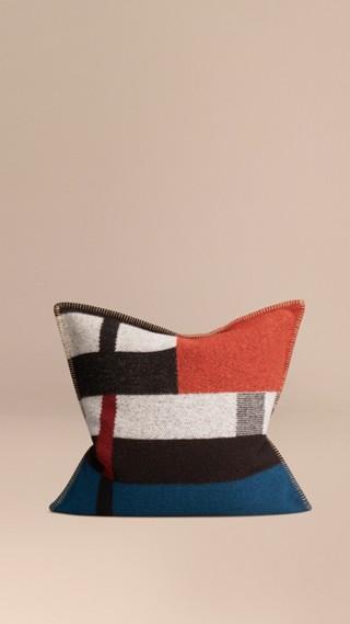 Housse de coussin en laine et cachemire avec motif check