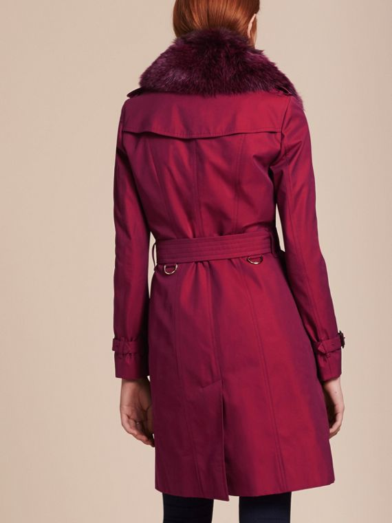 Crimson Cotton Gabardine Trench Coat with Detachable Fur Trim Crimson - cell image 2