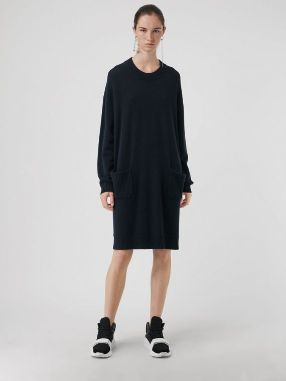 Cashmere Sweater Dress in Navy