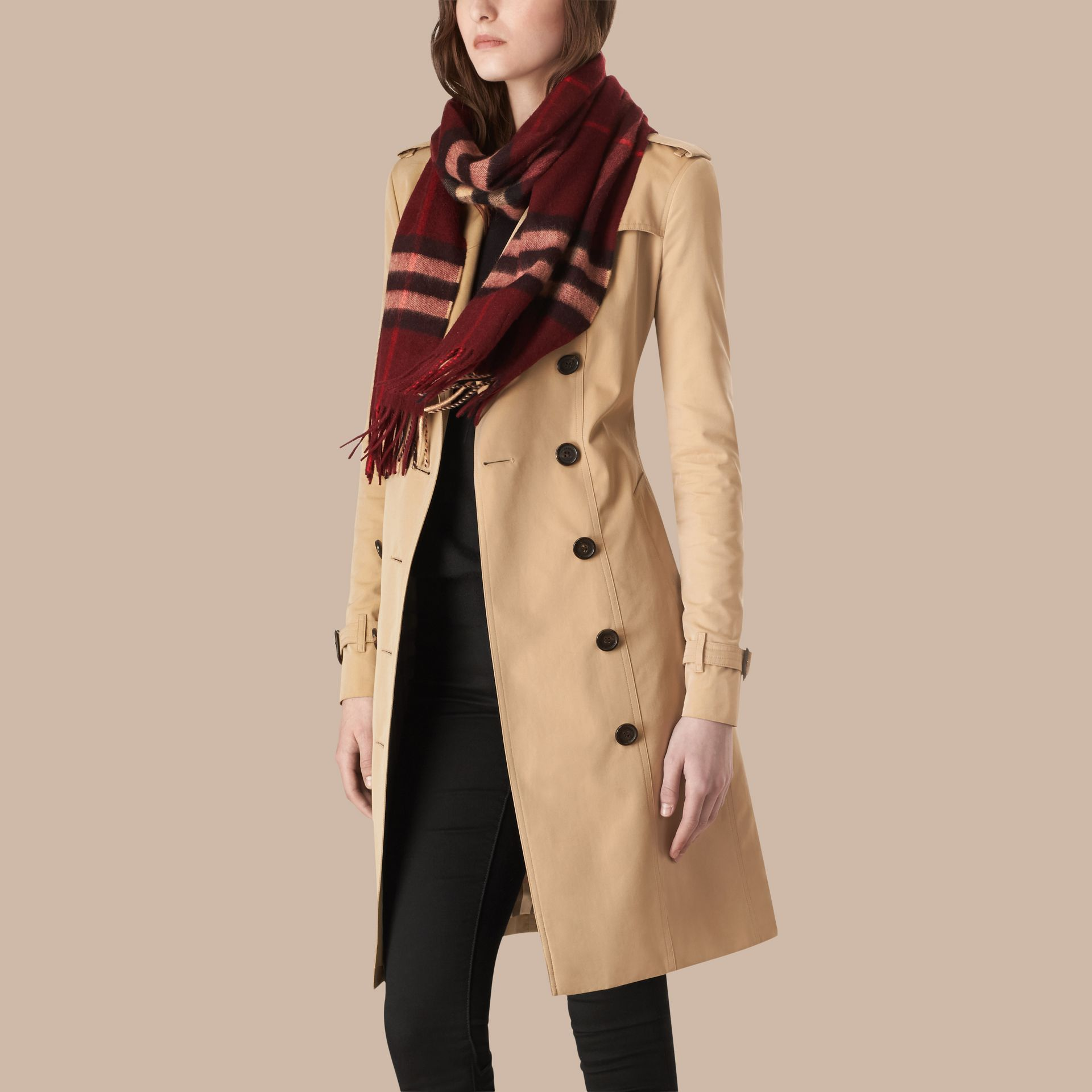 Claret check The Classic Cashmere Scarf in Check Claret - gallery image 3