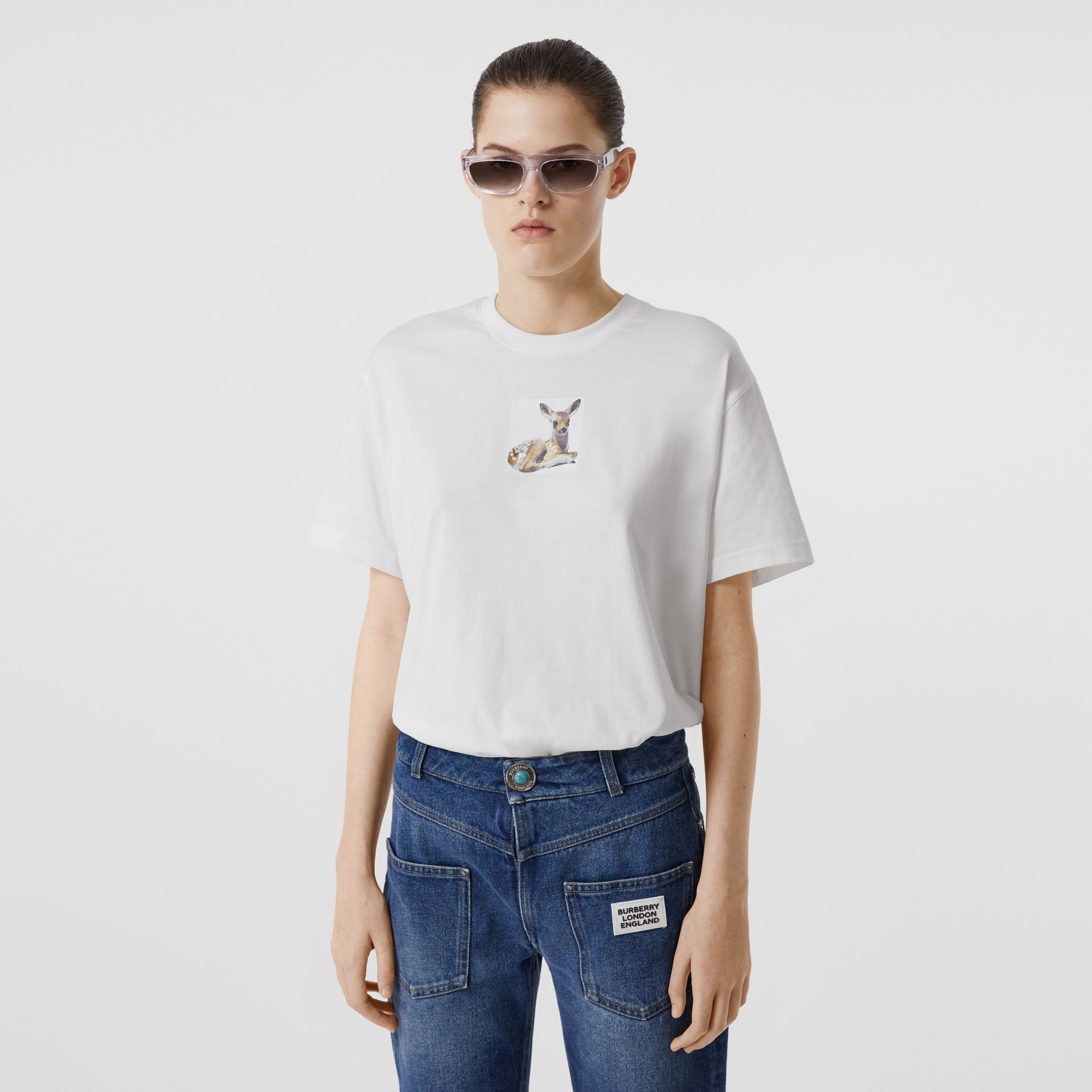 Deer Print Cotton T-shirt in White - Women | Burberry Singapore - 1