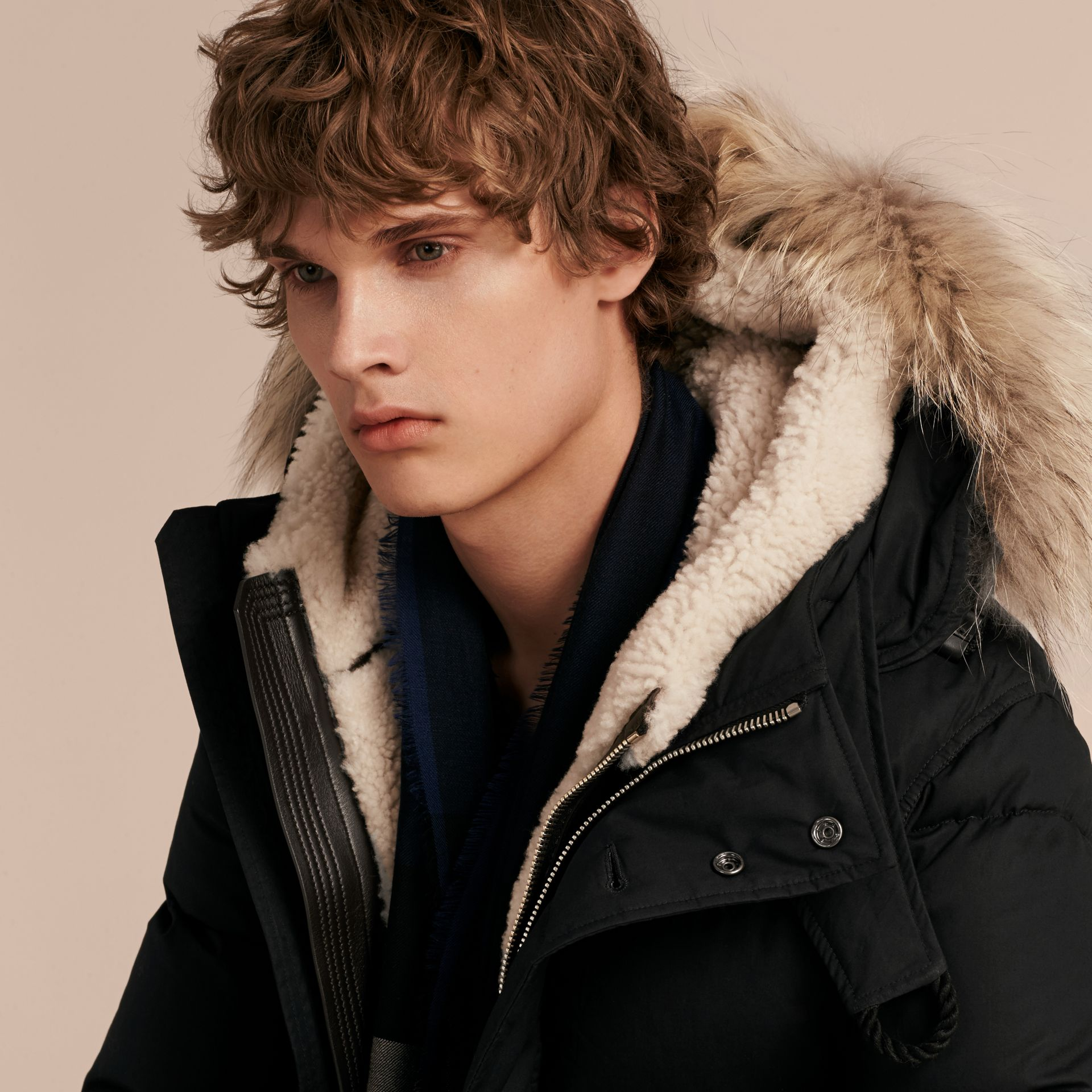 Black Shearling Trim Down-filled Coat with Raccoon Fur Hood - gallery image 3