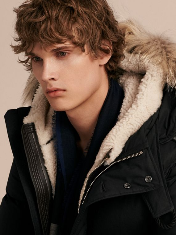 Black Shearling Trim Down-filled Coat with Raccoon Fur Hood - cell image 2