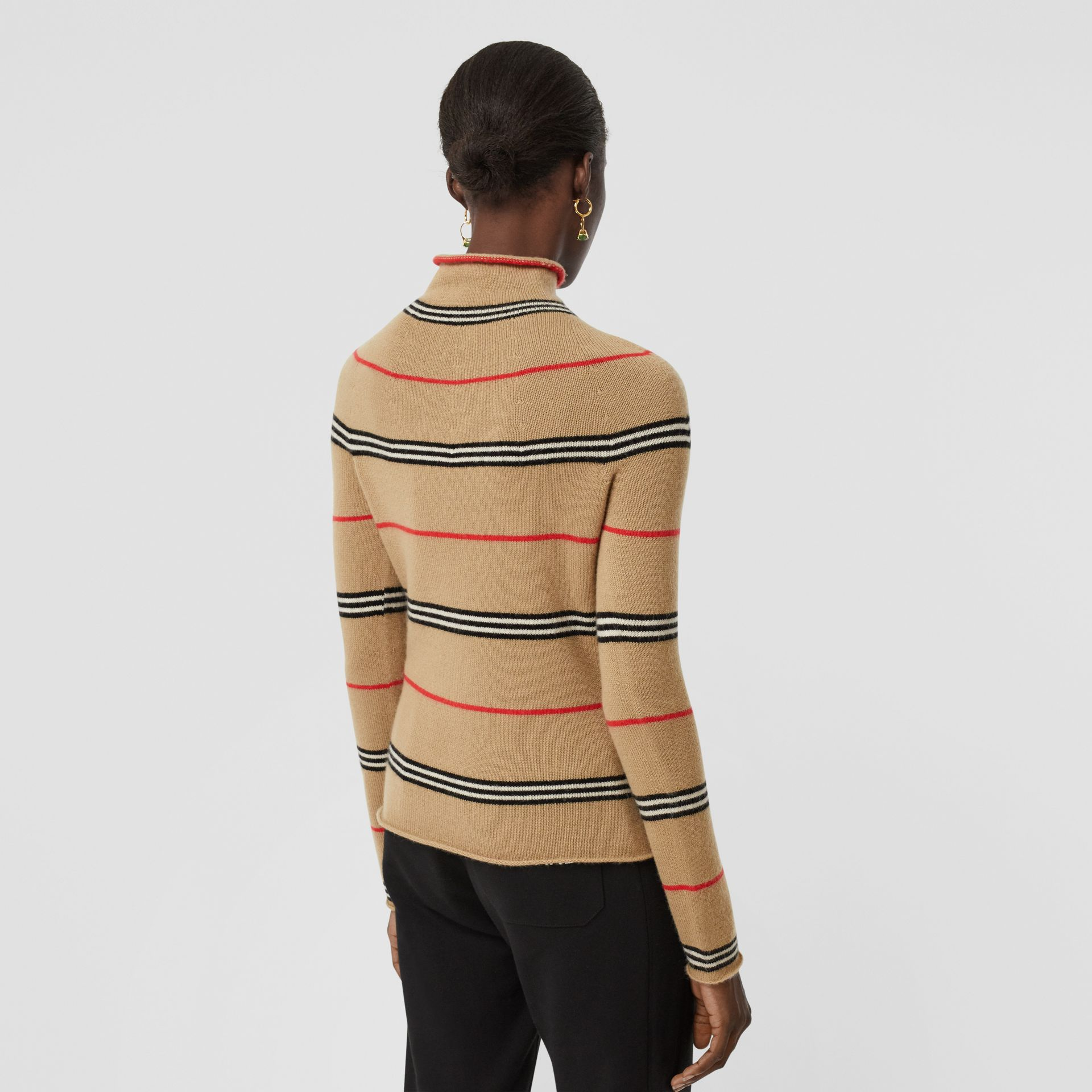 Icon Stripe Cashmere Turtleneck Sweater in Archive Beige - Women | Burberry - gallery image 2