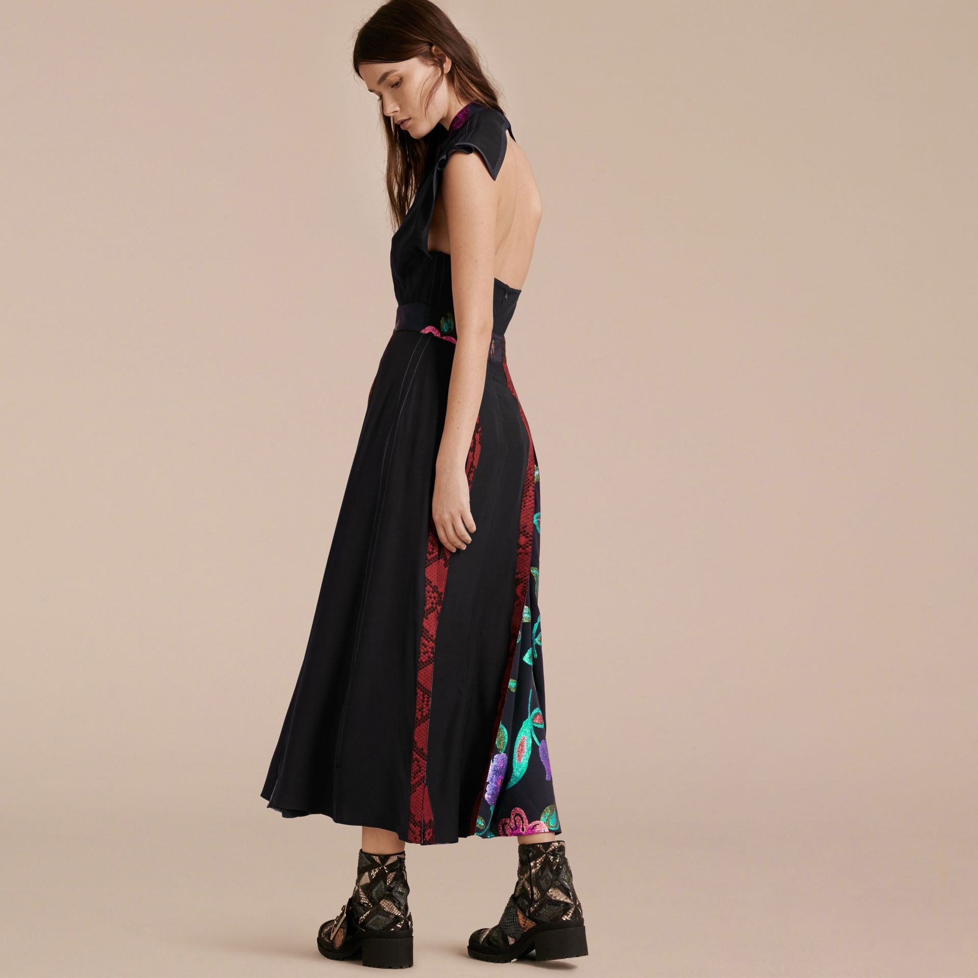 Black Silk Dress with Floral and Python Print Panels - gallery image 3