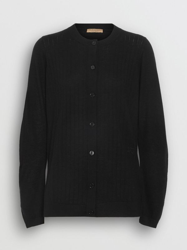Rib Knit Cashmere Cardigan in Black - Women | Burberry Australia - cell image 3