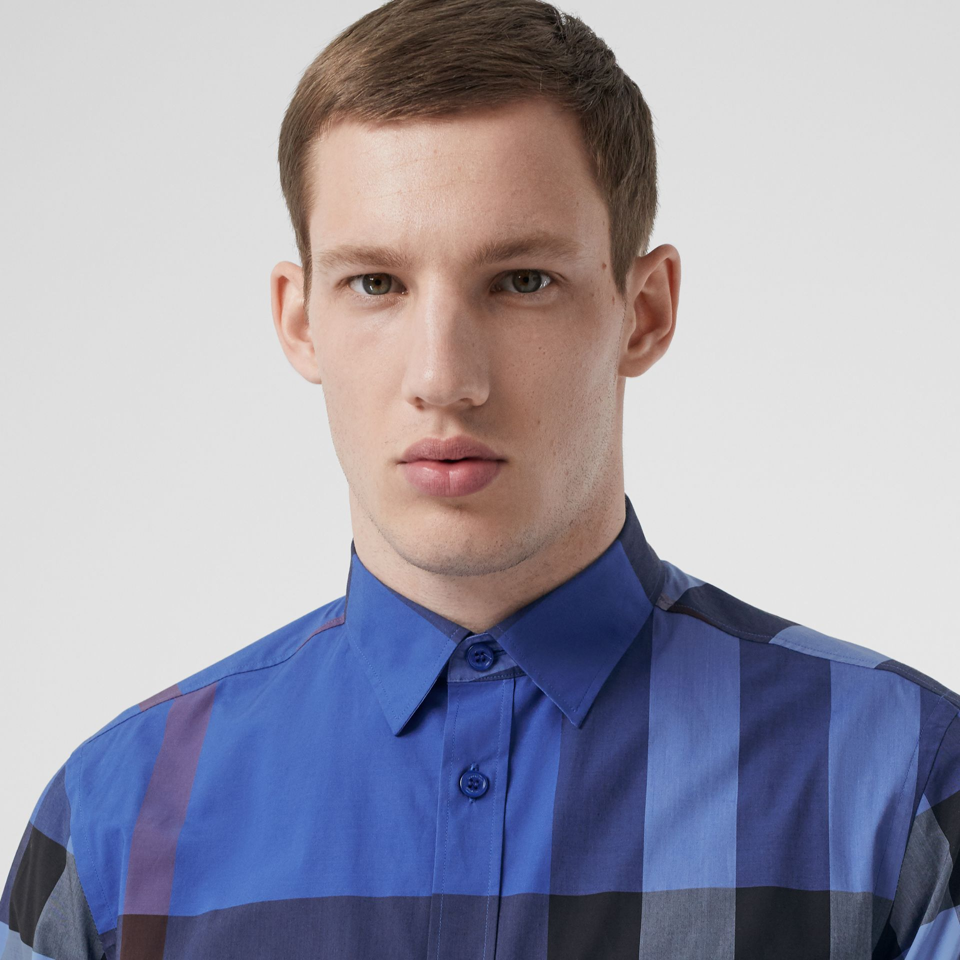Check Stretch Cotton Poplin Shirt in Opal Blue - Men | Burberry Canada - gallery image 1