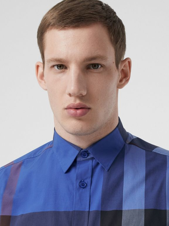 Check Stretch Cotton Poplin Shirt in Opal Blue - Men | Burberry Canada - cell image 1
