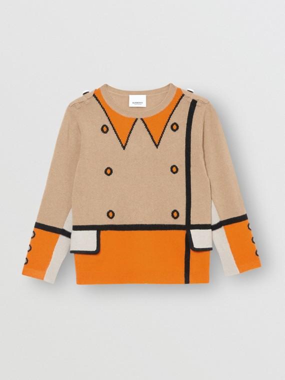 Trompe L'Oeil Intarsia Cashmere Sweater in Archive Beige