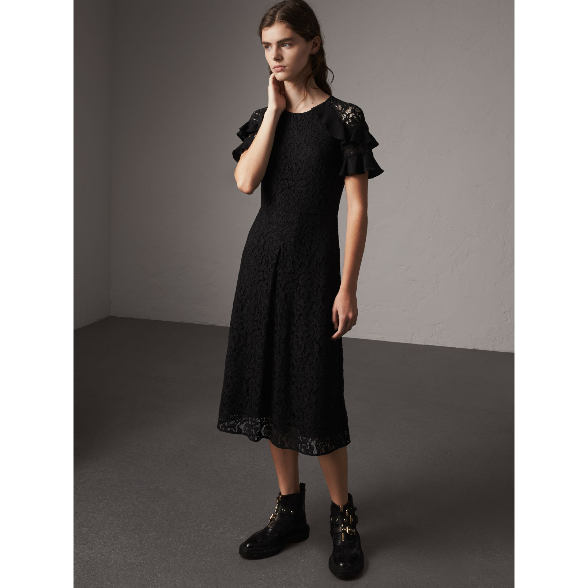 Ruffle Detail Floral Lace Dress in Black - Women | Burberry - gallery image 0