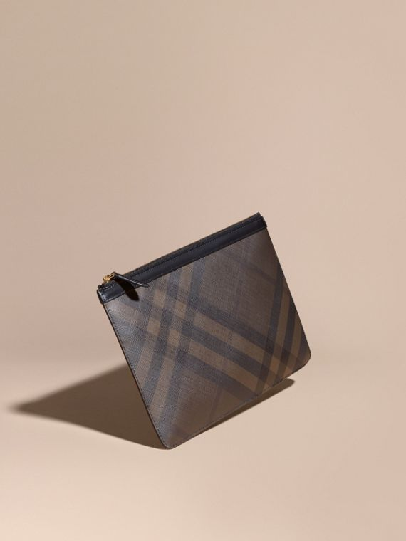 Pochette zippée à motif London check (Chocolat/noir) - Homme | Burberry