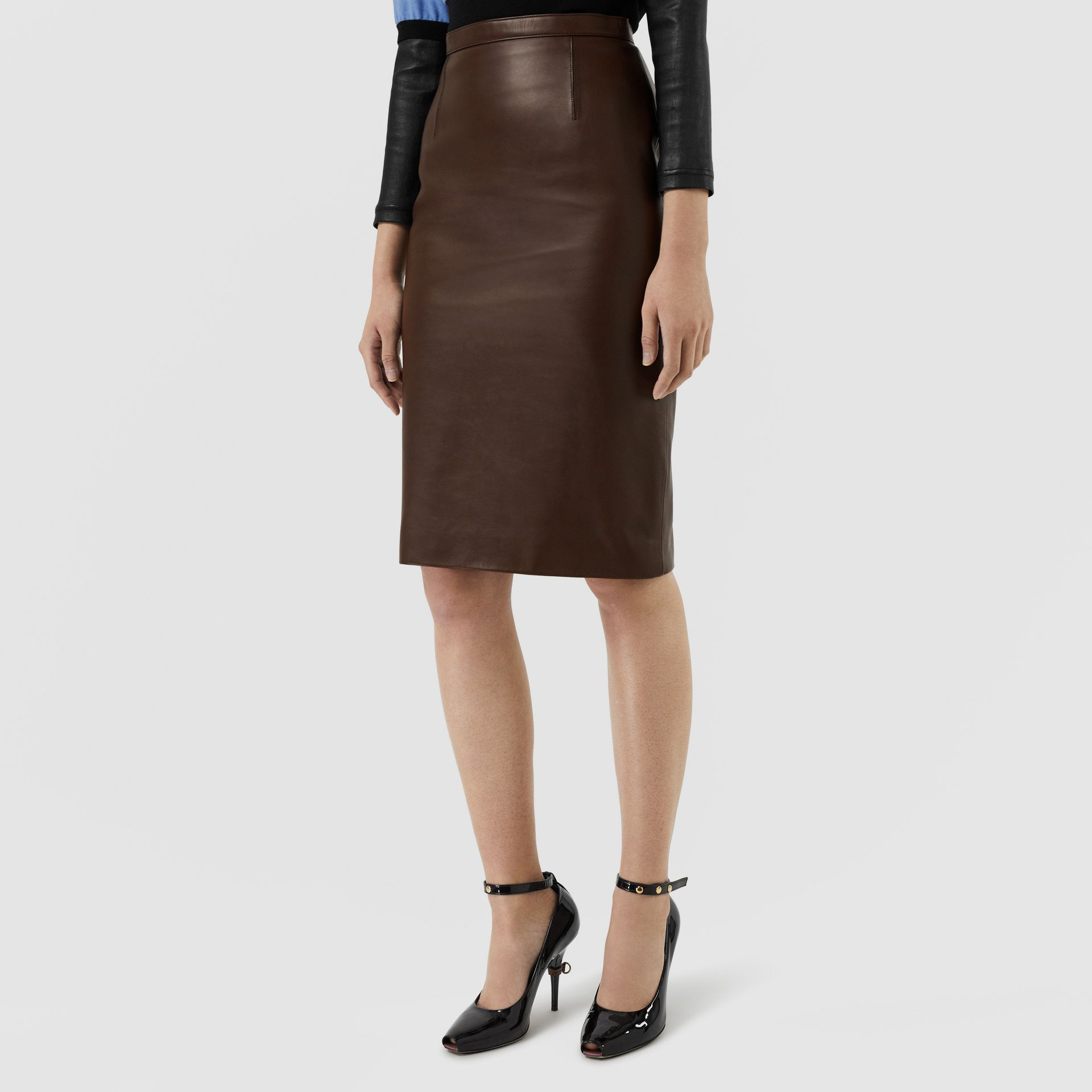 Lambskin Pencil Skirt in Mahogany - Women | Burberry Singapore - gallery image 4