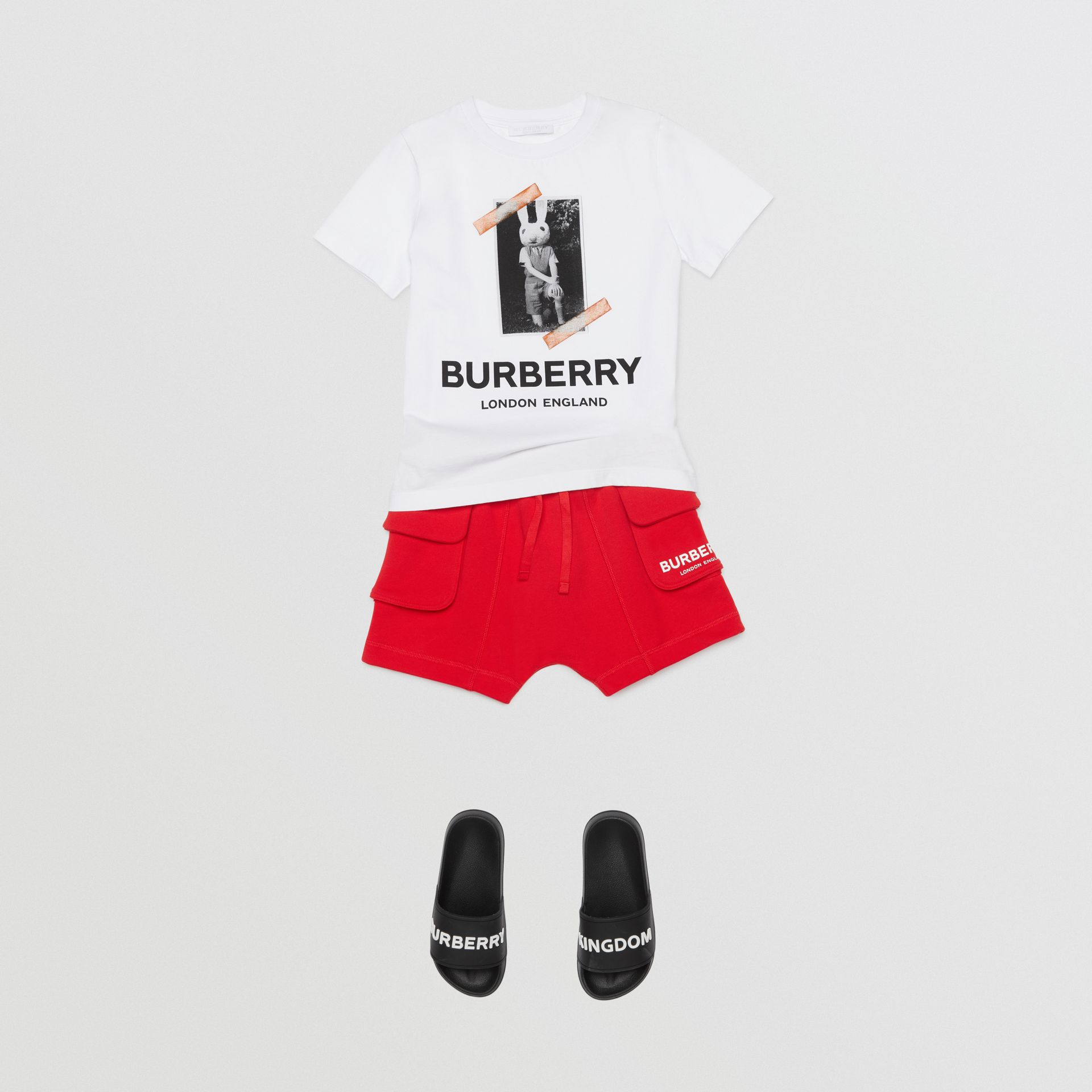 Logo Print Cotton Drawcord Shorts in Bright Red | Burberry United Kingdom - gallery image 3