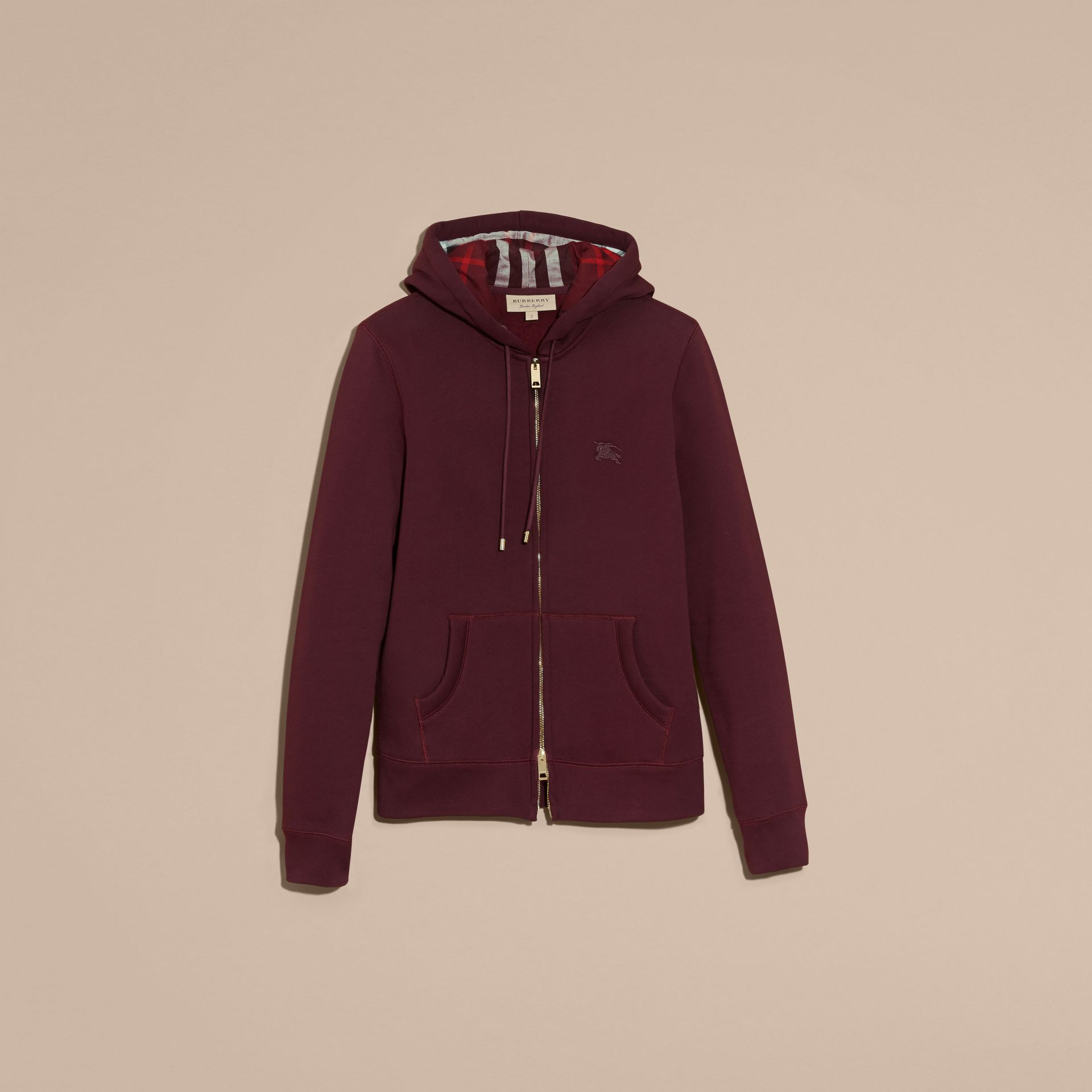 Deep claret Hooded Cotton Jersey Top - gallery image 4
