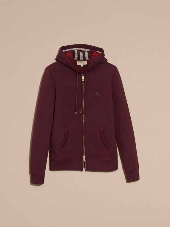 Deep claret Hooded Cotton Jersey Top - cell image 3