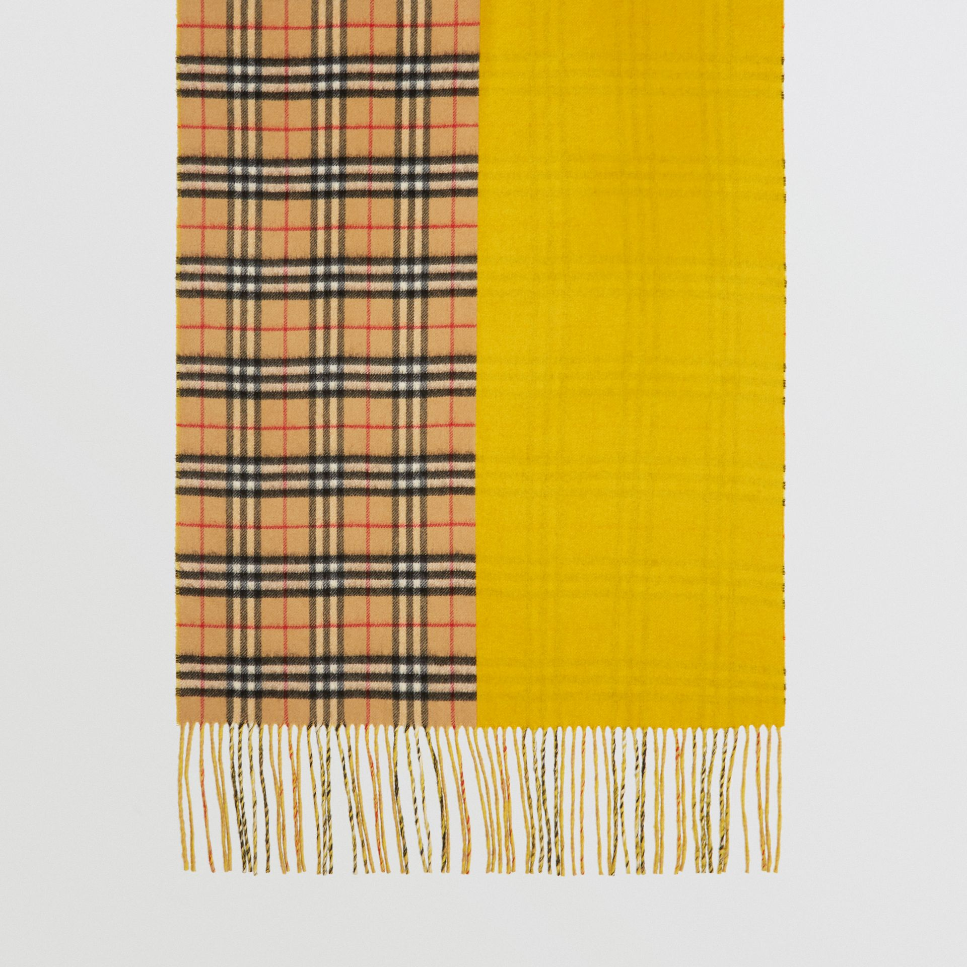 Colour Block Vintage Check Cashmere Scarf in Gorse Yellow | Burberry - gallery image 4