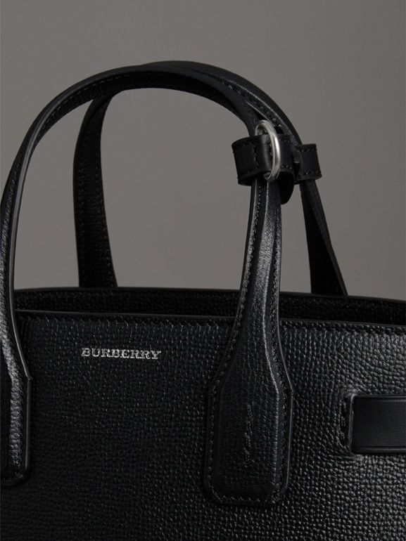 The Small Banner in Leather and Vintage Check in Black - Women | Burberry Canada - cell image 1